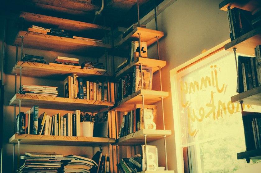 jimmy monkey cafe shelves window