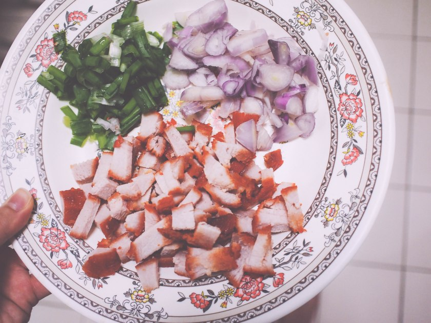 spring onion + charsiew + onions