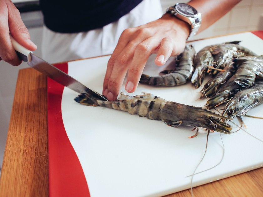 cutting tiger prawns