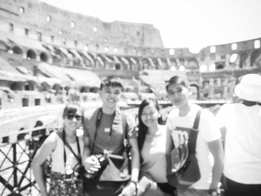 group shot at colosseum