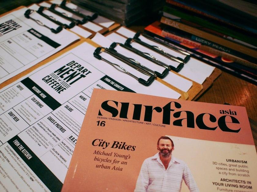 menu and magazines